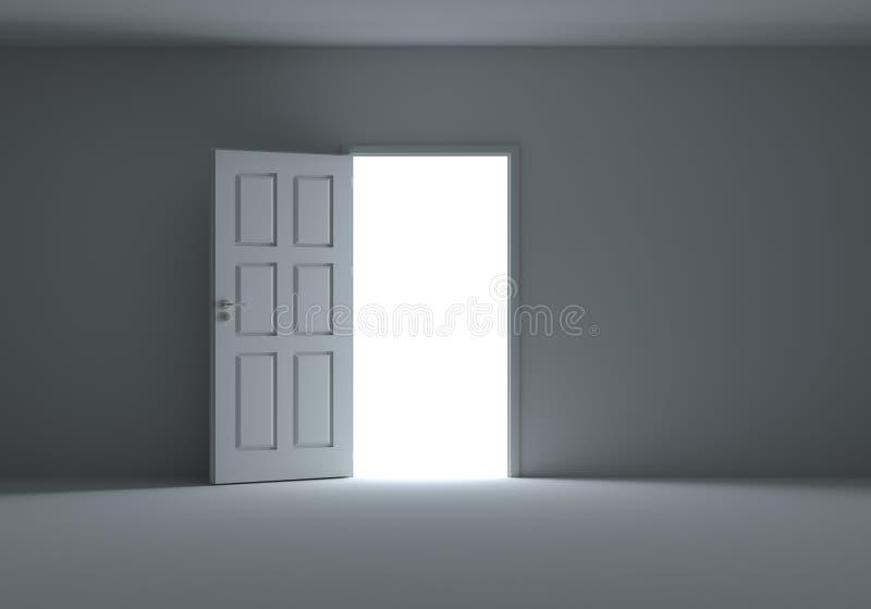 Una porta aperta con luce che scorre nella stanza scura illustrazione vettoriale