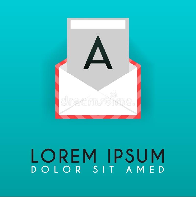 Una posta piana, progettazione di logo del email, ispirazione posteriore di idea di logo di A illustrazione di stock