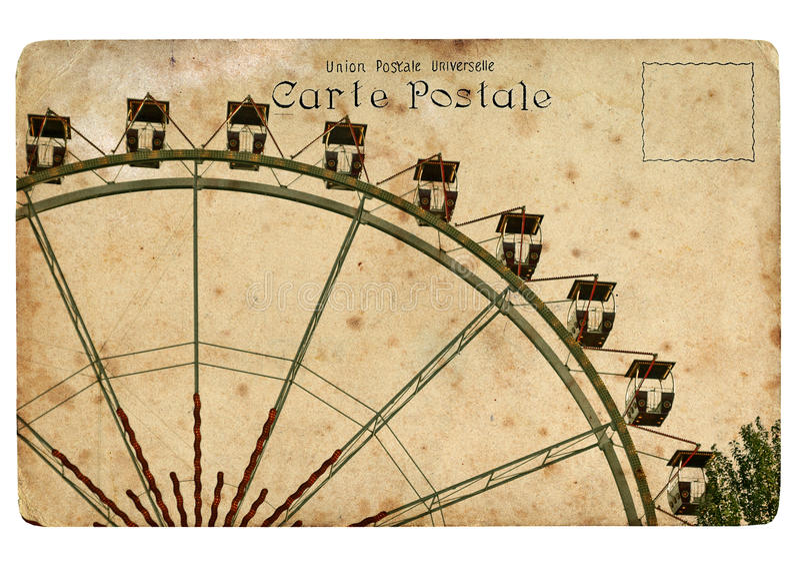 Una postal vieja con una rueda de Ferris. ilustración del vector