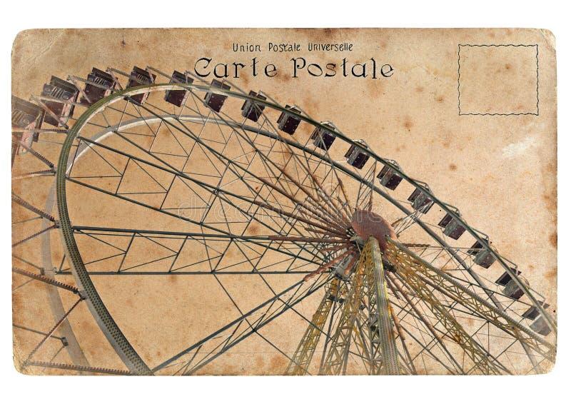 Una postal vieja con una rueda de Ferris grande. libre illustration
