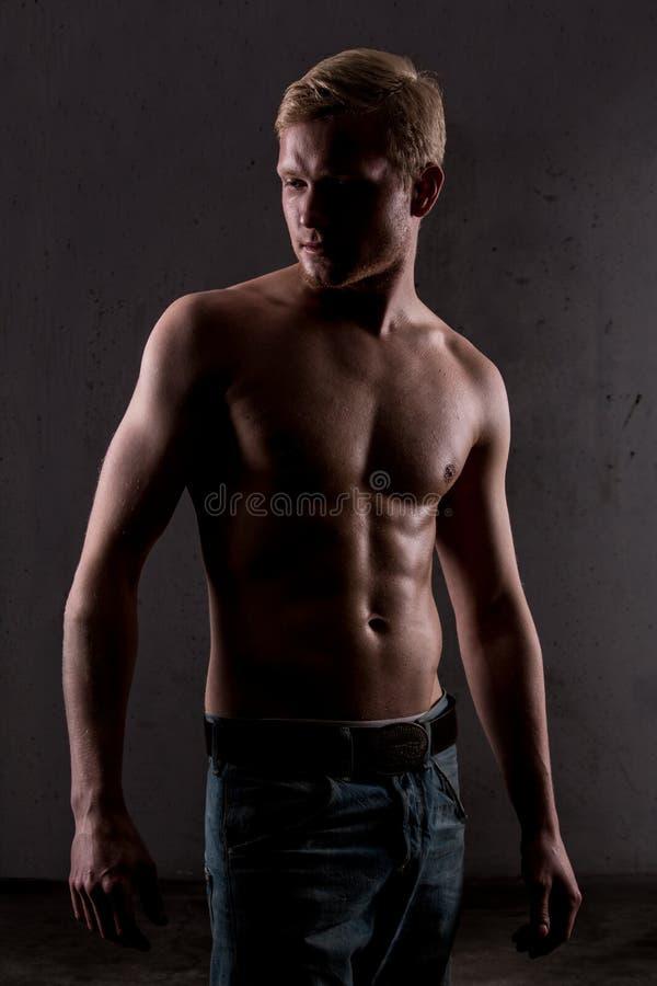 Una presentación muscular del hombre imagen de archivo libre de regalías
