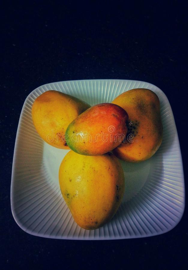 Una presentazione dei manghi maturi in un piatto bianco fotografia stock libera da diritti