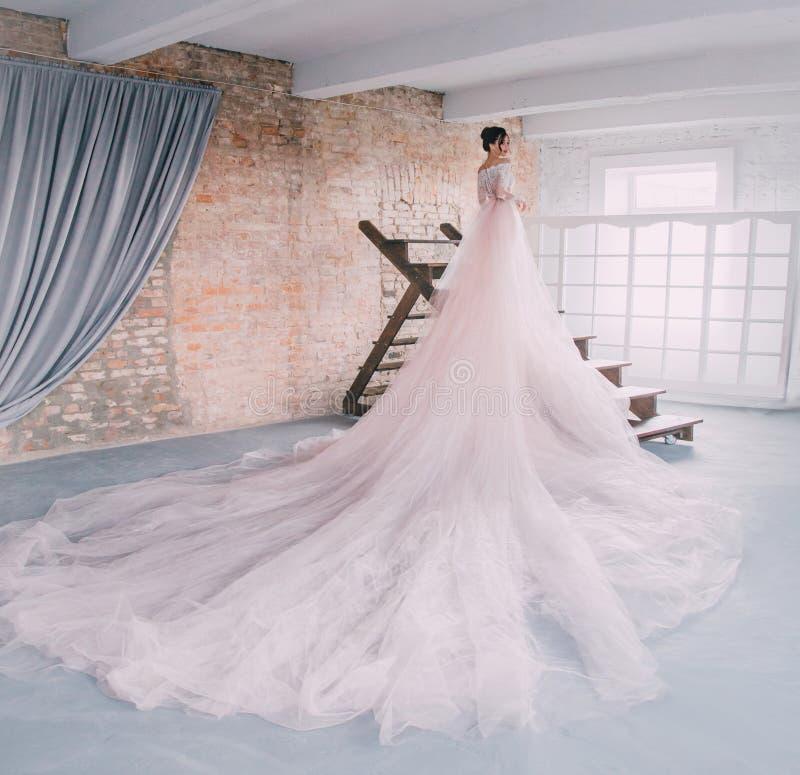 Una princesa joven en un vestido costoso, lujoso con un tren largo se opone con ella de nuevo a la cámara, a imagen de archivo