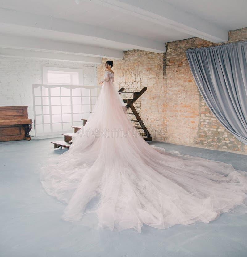 Una princesa joven en un vestido costoso, lujoso con un tren largo se opone con ella de nuevo a la cámara, a fotografía de archivo