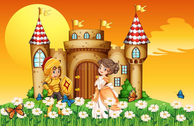 Una principessa e un cavaliere royalty illustrazione gratis