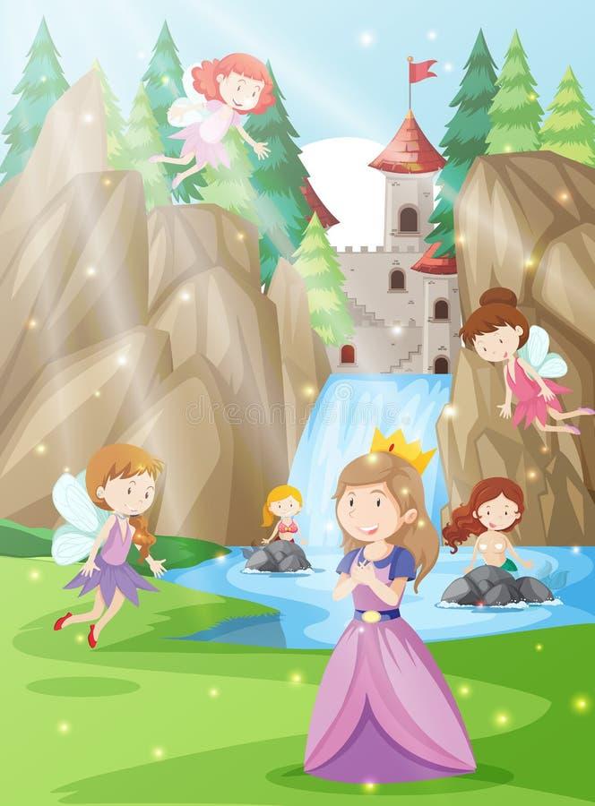 Una principessa nella terra di fantasia illustrazione vettoriale