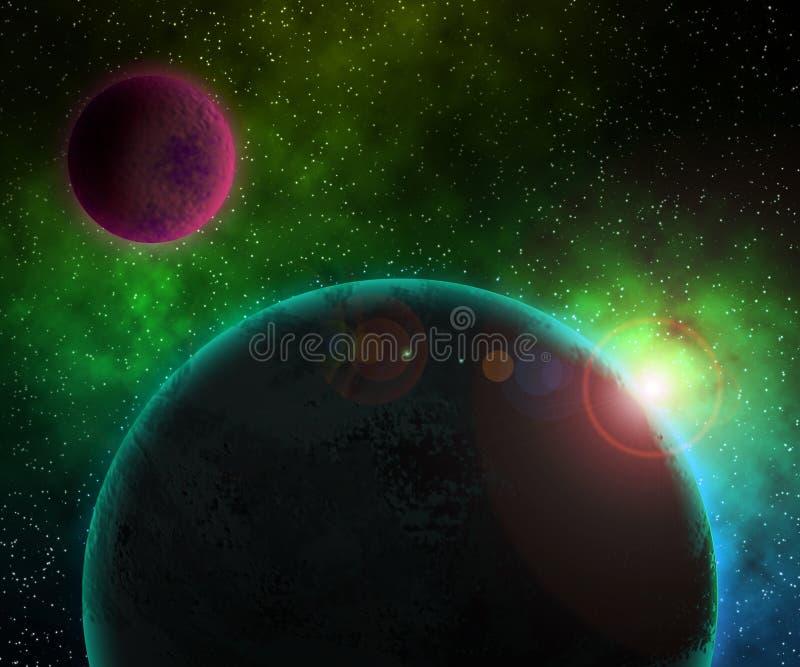 Una priorità bassa cosmica dei due pianeti illustrazione vettoriale