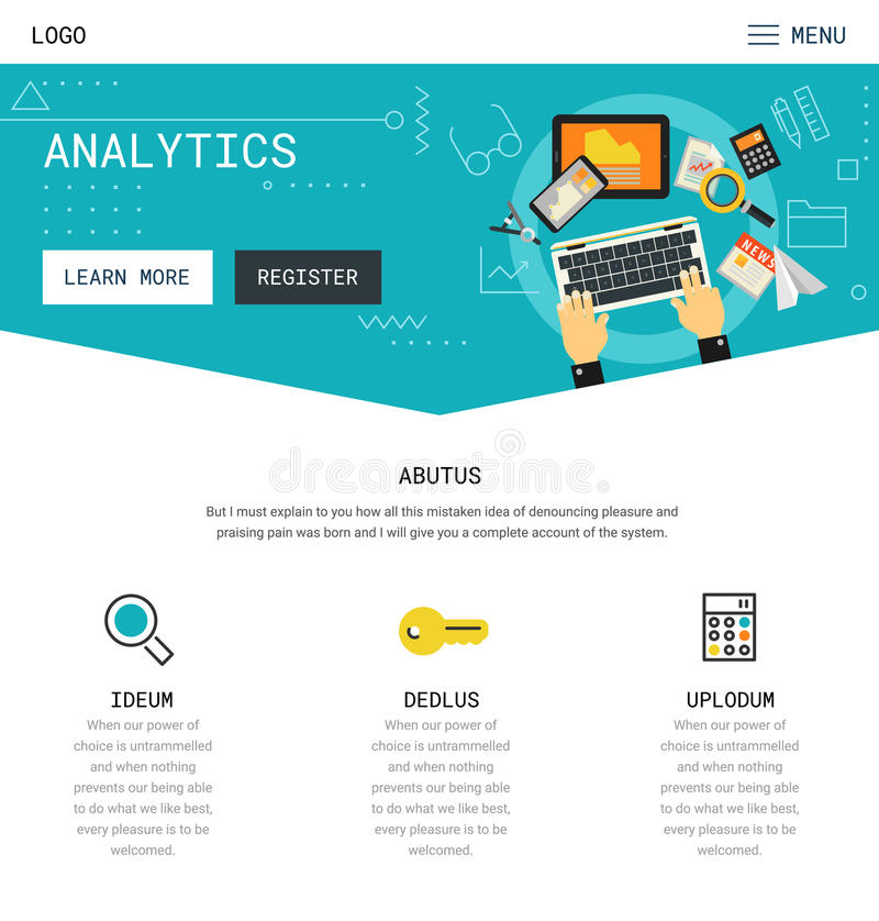 Una progettazione del sito Web della pagina illustrazione di stock