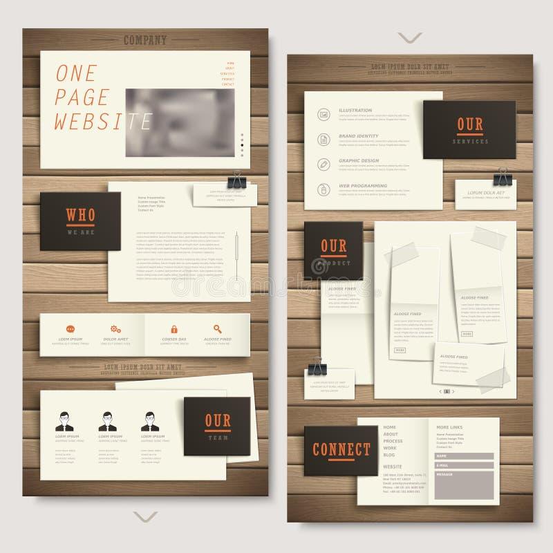 Una progettazione del sito Web della pagina con struttura di carta e di legno royalty illustrazione gratis