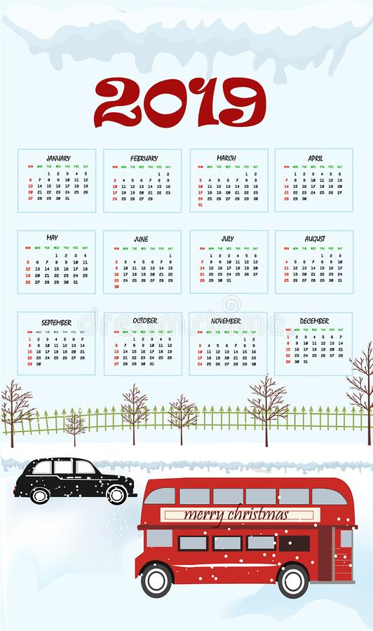 una progettazione di 2019 calendari con fondo nero illustrazione di stock