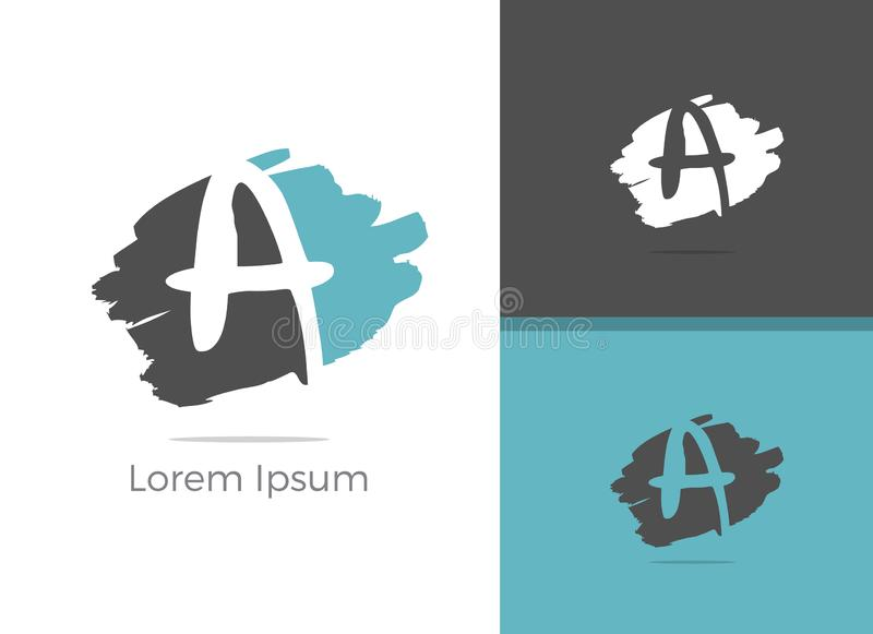 Una progettazione di logo della lettera, segna A con lettere nell'icona di vettore delle azione della spazzola illustrazione di stock