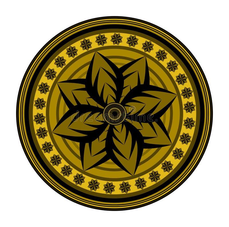 Una progettazione disegnata medievale circolare geometrica floreale illustrazione vettoriale