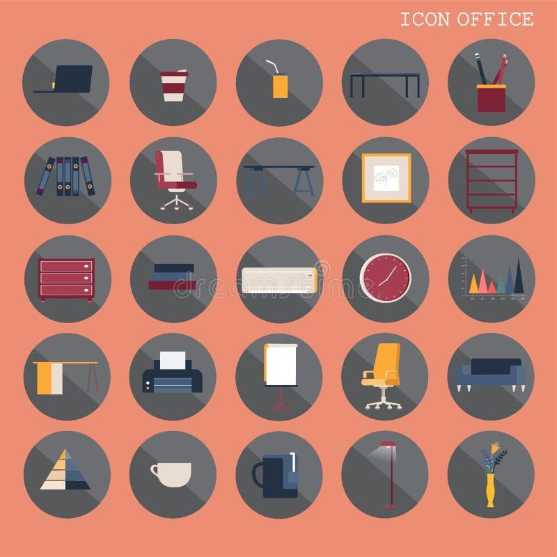 una progettazione piana di base di 25 insiemi, contiene tali icone come il posto di lavoro, l'affare e gli elementi dei mobili d' illustrazione di stock