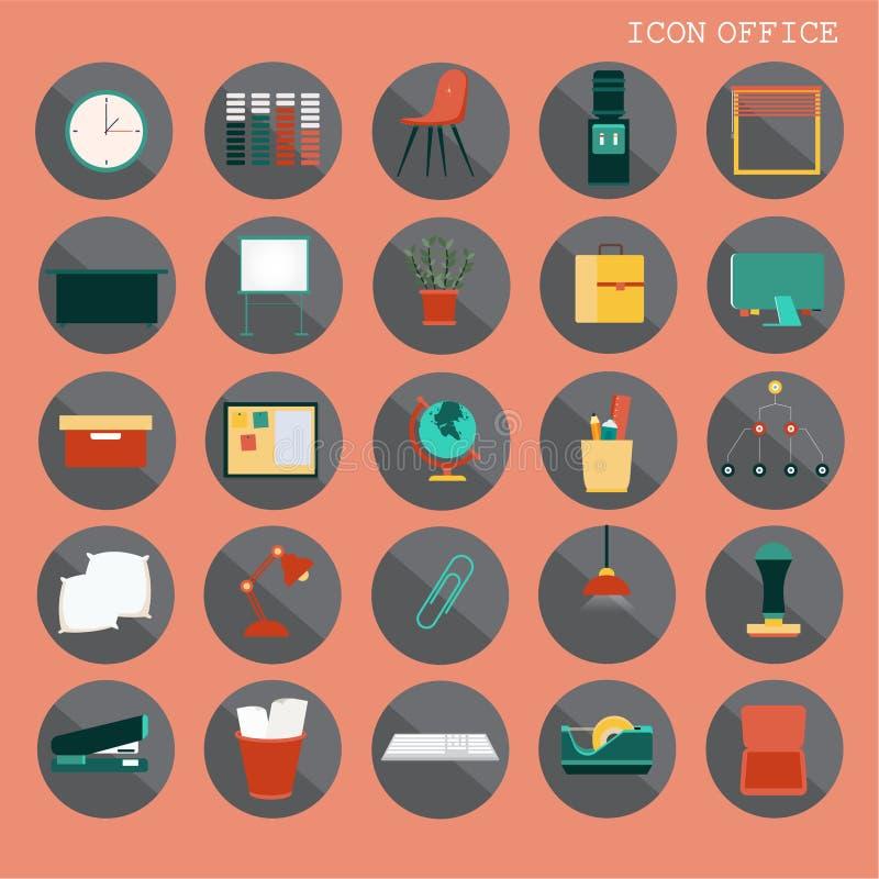 una progettazione piana di base di 25 insiemi, contiene tali icone come il posto di lavoro, l'affare e gli elementi dei mobili d' royalty illustrazione gratis