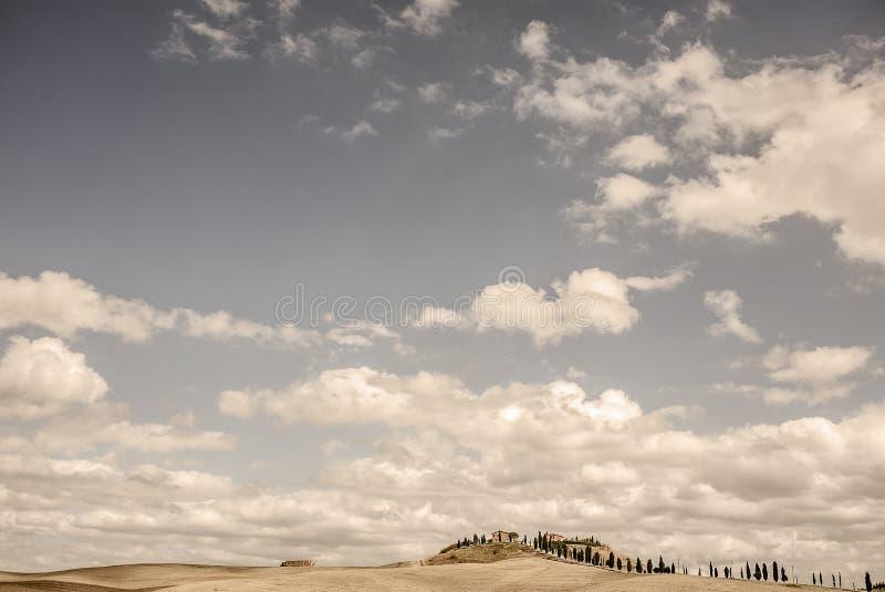 Una proprietà della Toscana - paese con uno Strada allineato Cypress tipico Bianca fotografia stock libera da diritti