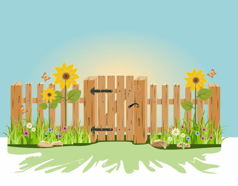 Una puerta y una cerca de madera libre illustration