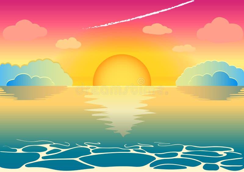 Una puesta del sol de hadas hermosa o una salida del sol en el horizonte de mar imagenes de archivo
