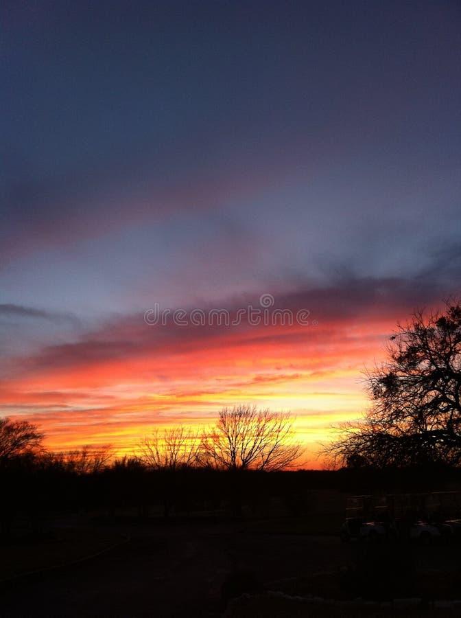 ¡Una puesta del sol fabulosa de Tejas! ¡Naturaleza increíble! foto de archivo