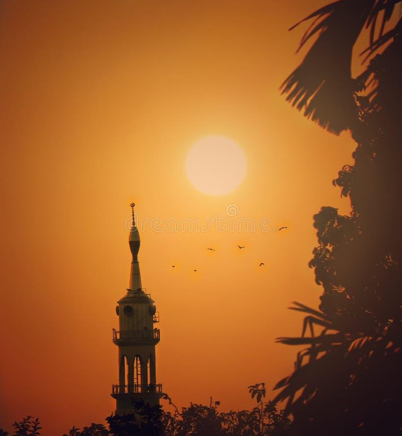 Una puesta del sol hermosa Mezquita foto de archivo libre de regalías
