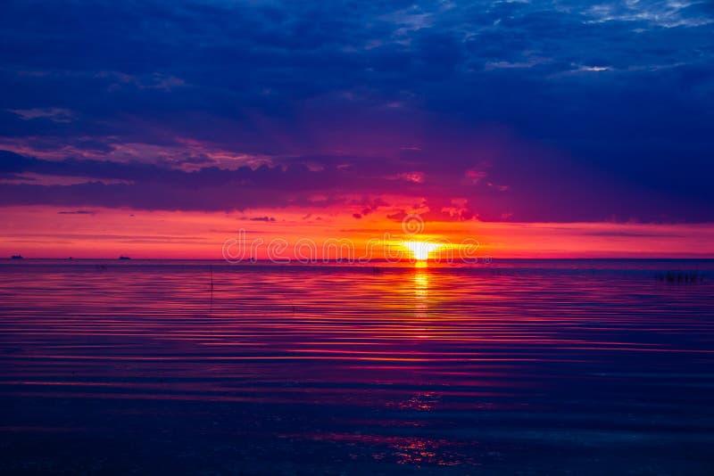 Una puesta del sol inusualmente hermosa del fuego por el mar Puesta del sol en el golfo Puesta del sol en el mar imagen de archivo libre de regalías