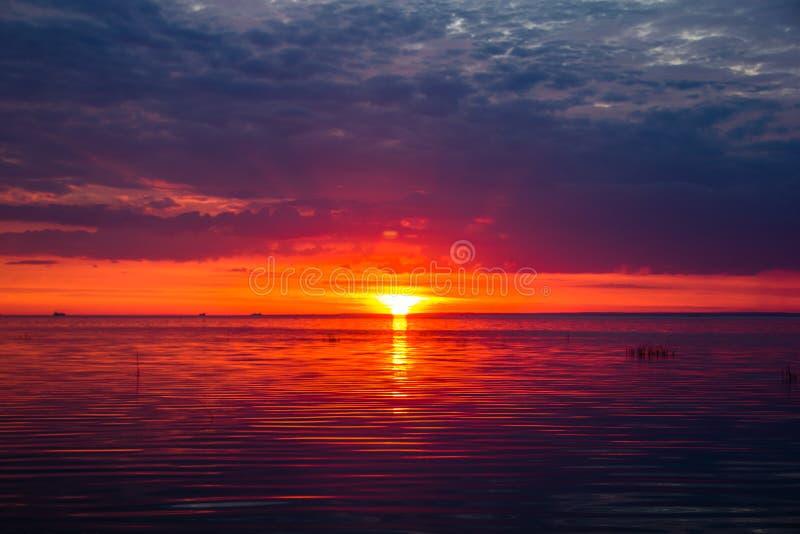 Una puesta del sol inusualmente hermosa del fuego por el mar Puesta del sol en el golfo Puesta del sol en el mar imágenes de archivo libres de regalías