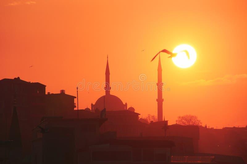 Una puesta del sol romántica en Estambul, la metrópoli histórica en Bósforo foto de archivo libre de regalías
