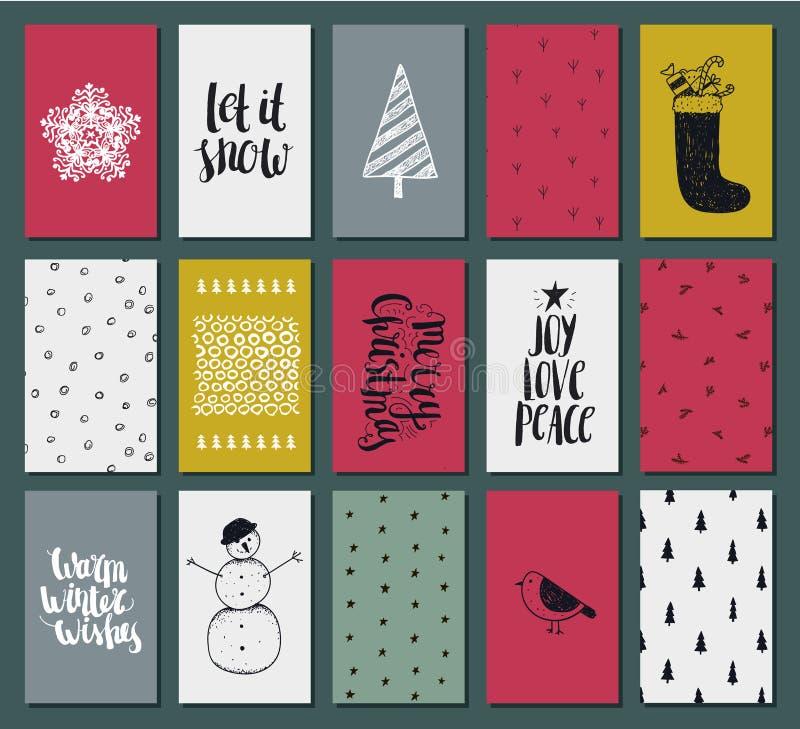 Una raccolta carte pronte per l'uso sveglie di arte del regalo di 15 di struttura Natali e del nuovo anno illustrazione di stock