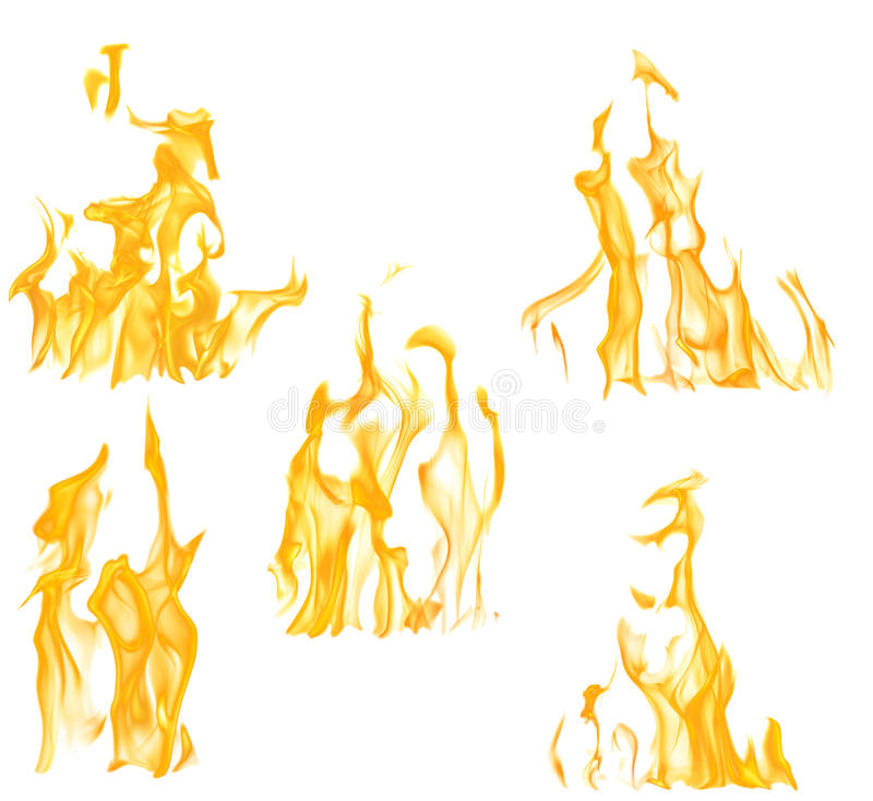 Una raccolta di cinque fiamme gialle isolate su bianco fotografia stock libera da diritti