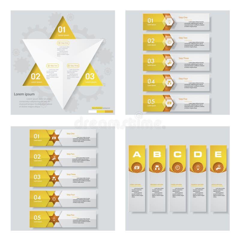 Una raccolta di 4 disposizioni gialle del modello/grafico o del sito Web di colore Fondo di vettore illustrazione vettoriale