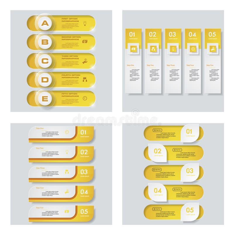Una raccolta di 4 disposizioni gialle del modello/grafico o del sito Web di colore Fondo di vettore royalty illustrazione gratis