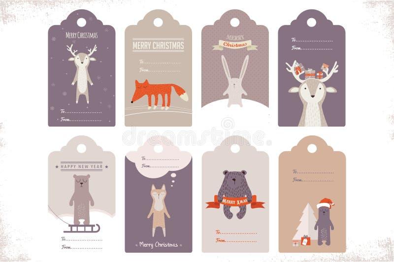 Una raccolta di 8 etichette del regalo di natale del mestiere illustrazione di stock