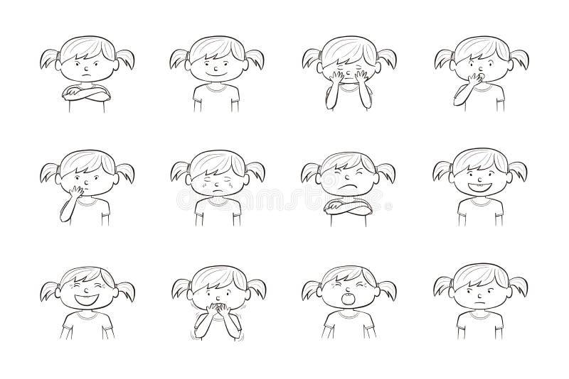 Una raccolta di una raccolta 12 di 12 illustrazioni della bambina che mostrano le emozioni differenti della ragazza che mostrano  royalty illustrazione gratis
