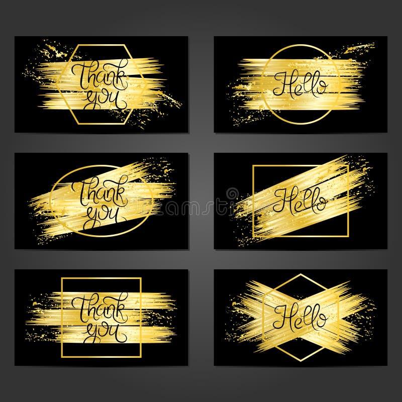 Una raccolta di 6 modelli d'annata della carta con le pennellate dorate illustrazione vettoriale