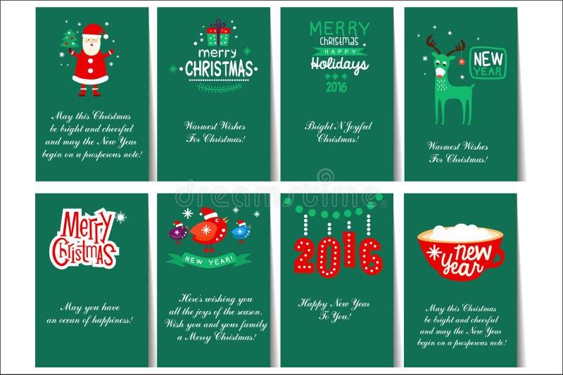 Una raccolta di 8 modelli della carta per le carte del nuovo anno e di Natale con differenti segni e congratulazioni Cartoline pe illustrazione vettoriale