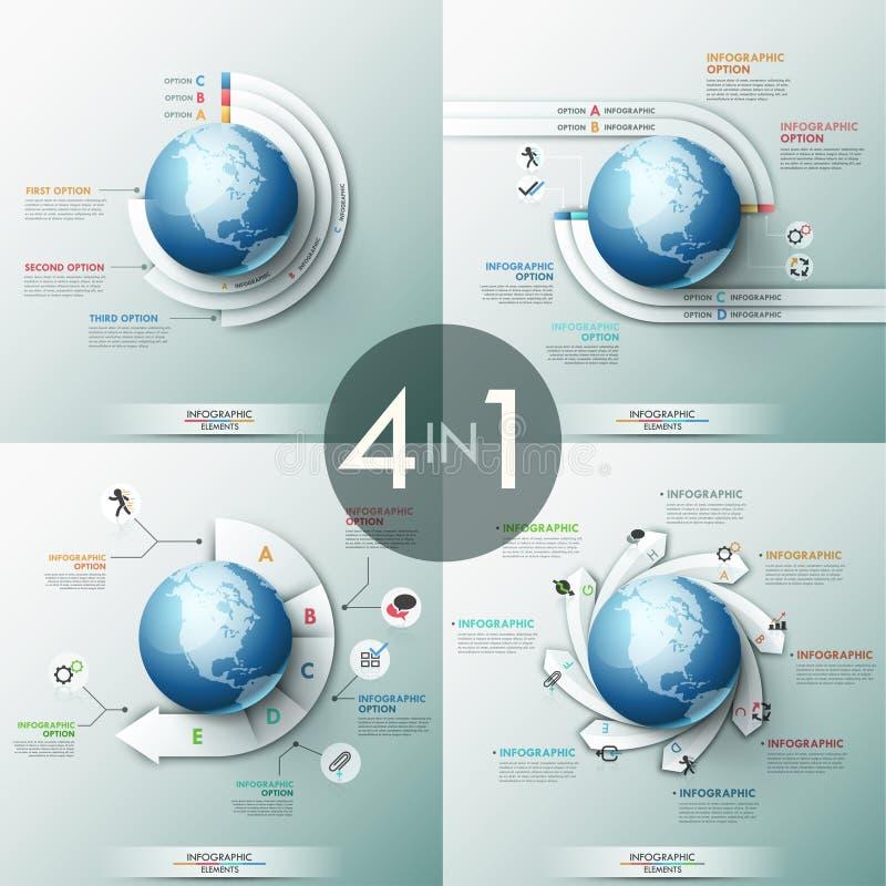 Una raccolta di 4 modelli infographic di progettazione con carta ha segnato gli elementi con lettere disposti intorno al globo illustrazione di stock