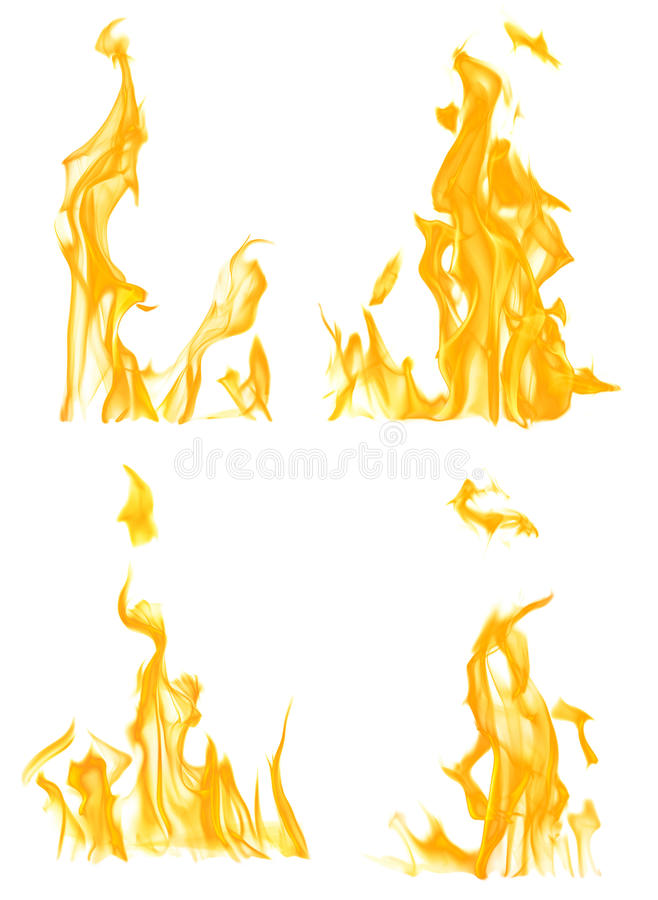 Una raccolta di quattro fiamme gialle isolate su bianco immagine stock