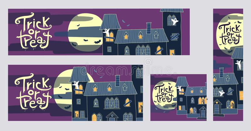 Una raccolta di quattro insegne di web di scherzetto o dolcetto di Halloween con lo spo illustrazione vettoriale