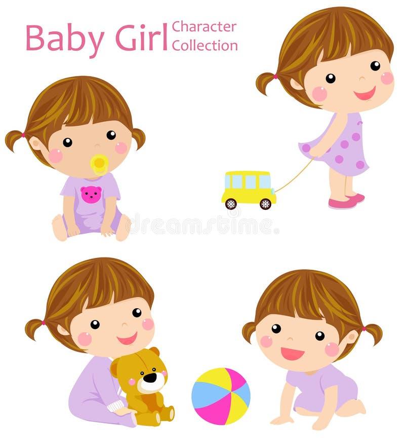 Una raccolta di quattro neonate illustrazione di stock