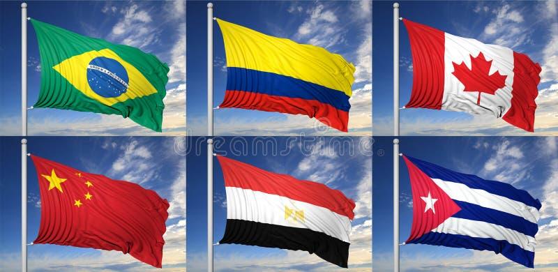 Una raccolta di sei bandiere illustrazione di stock