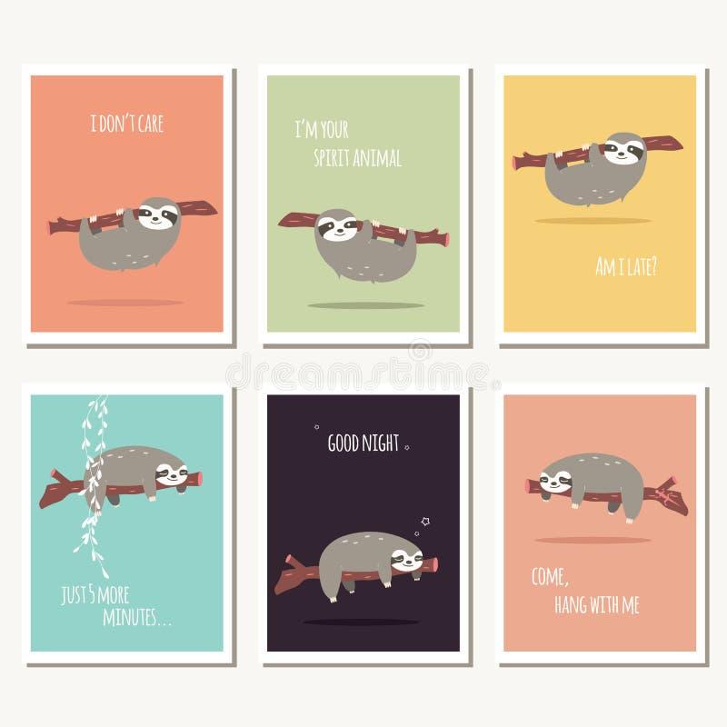 Una raccolta di sei cartoline d'auguri con il messag sveglio del testo e di bradipo royalty illustrazione gratis