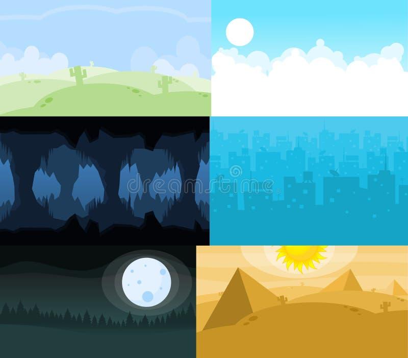 Una raccolta di sei fondi del video gioco royalty illustrazione gratis