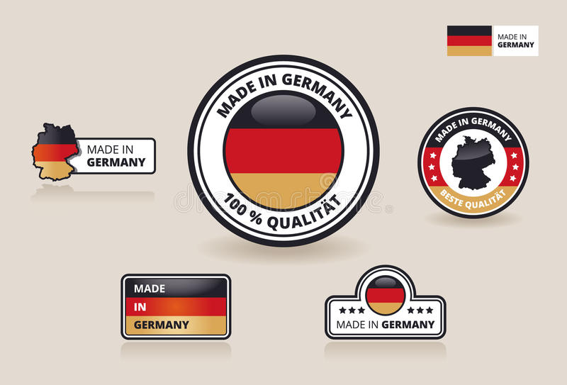 Una raccolta di sei ha fatto nei contrassegni, nei distintivi e negli autoadesivi della Germania illustrazione vettoriale