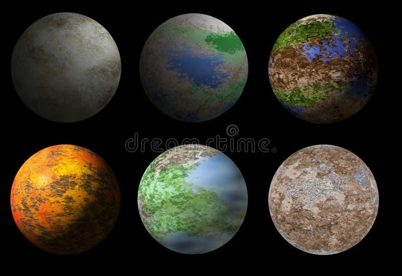 Una raccolta di sei pianeti dello straniero di fantasia royalty illustrazione gratis