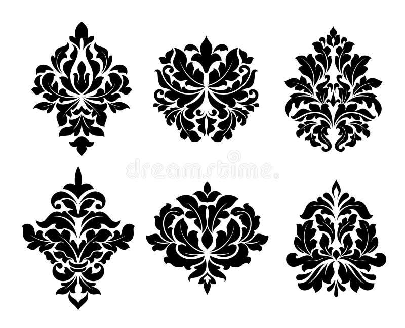 Una raccolta di sei progettazioni differenti di arabesque illustrazione vettoriale