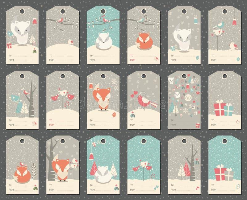 Una raccolta di un regalo del nuovo anno e di 18 Natali etichetta con le volpi illustrazione vettoriale