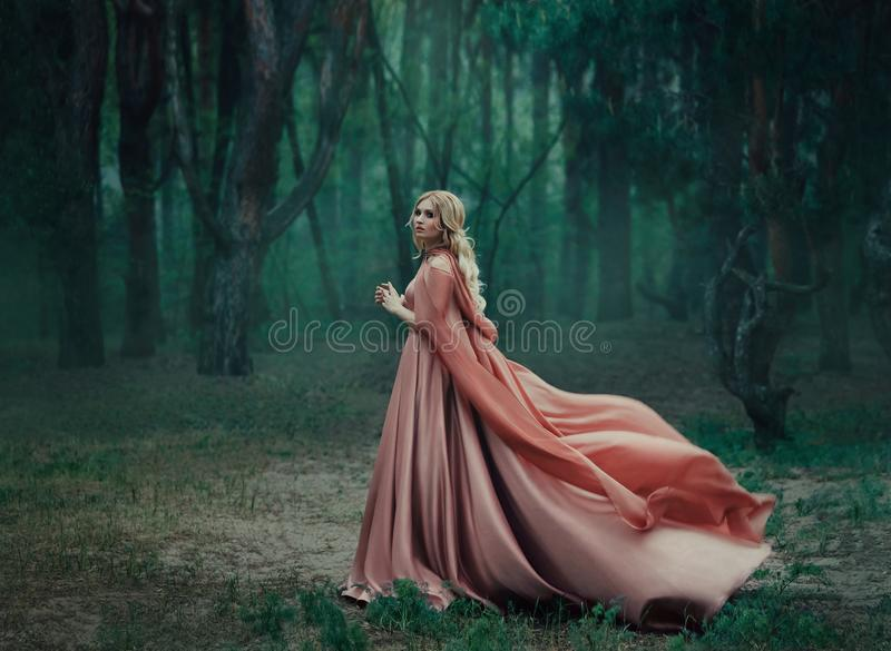 Una ragazza bionda misteriosa in un vestito rosa lungo con un treno e un impermeabile che fluttua nel vento Le foglie dello streg immagini stock