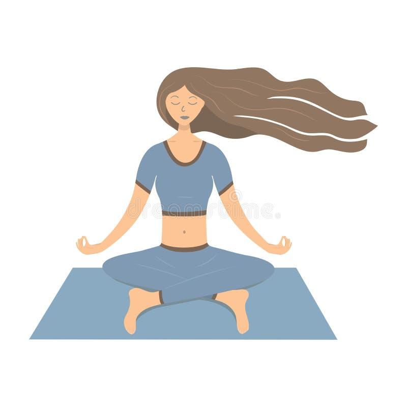 Una ragazza castana con capelli scorrenti lunghi medita illustrazione vettoriale