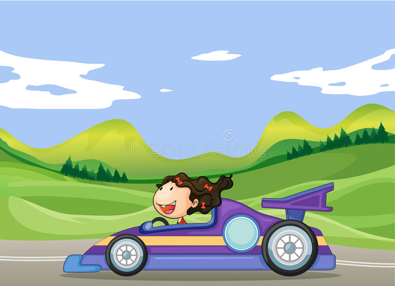 Una ragazza che conduce un'automobile illustrazione di stock