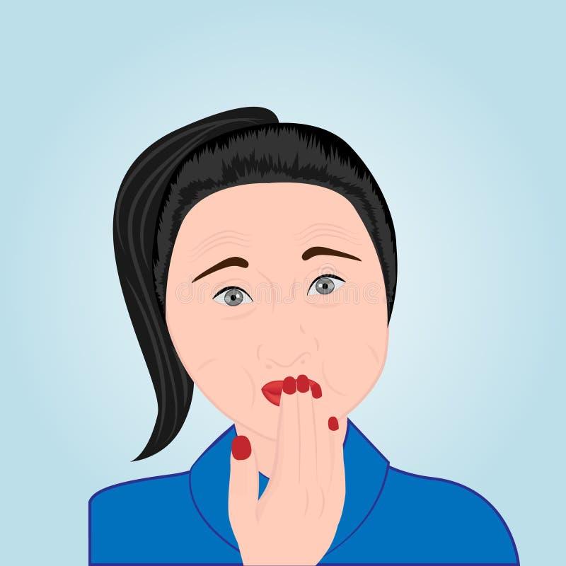 Una ragazza che copre la sua bocca di sua mano che prova ad evitare eruttare illustrazione vettoriale