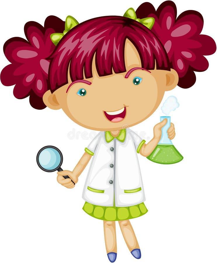 Una ragazza che fa esperimento illustrazione di stock